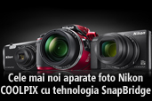 Cele mai noi aparate foto Nikon COOLPIX cu tehnologia SnapBridge