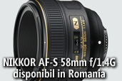 NIKKOR AF-S 58mm f/1.4G disponibil in Romania