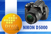Nikon D5000 medaliat cu aur de catre DIWA