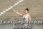 Flacara Olimpica strabate Bucurestiul