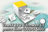 ViewNX 2.7.2 si firmware 1.3 pentru Nikon COOLPIX S800c disponibile pentru descarcare